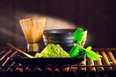 Matcha powder. Organic green matcha tea ceremony Stock Image