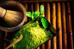 Matcha powder. Organic green matcha tea ceremony Royalty Free Stock Photography