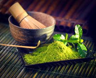 Matcha powder. Organic green matcha tea ceremony Stock Photo