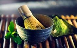 Matcha powder. Organic green matcha tea ceremony Royalty Free Stock Image