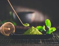 Matcha powder. Organic green matcha tea Stock Photo
