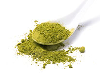 Matcha powder tea in a spoon isolated on white background Stock Photo