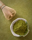 Matcha Powder and Traditional Wooden Whisk Royalty Free Stock Photo