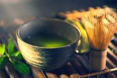 Matcha proszek Organicznie zielonego matcha herbaciana ceremonia zdjęcia royalty free