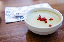 Matcha pudding Stock Photo
