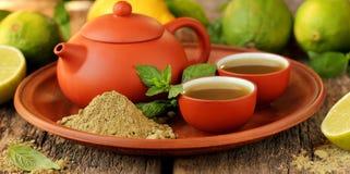 Matcha pulverizado japonés del té verde Imagen de archivo libre de regalías