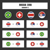 Matcha schema, tabellen för 2018 den sista attraktionresultat, flaggor av länder som in deltar till den internationella turnering Arkivfoto