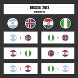 Matcha schema, tabellen för 2018 den sista attraktionresultat, flaggor av länder som in deltar till den internationella turnering Royaltyfri Bild