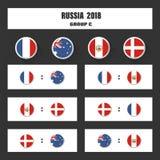 Matcha schema, tabellen för 2018 den sista attraktionresultat, flaggor av länder som in deltar till den internationella turnering Royaltyfria Bilder
