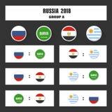 Matcha schema, tabellen för 2018 den sista attraktionresultat, flaggor av länder som in deltar till den internationella turnering Royaltyfria Foton