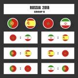 Matcha schema, tabellen för 2018 den sista attraktionresultat, flaggor av länder som in deltar till den internationella turnering Arkivbilder