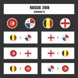 Matcha schema, tabellen för 2018 den sista attraktionresultat, flaggor av länder som in deltar till den internationella turnering Royaltyfri Fotografi