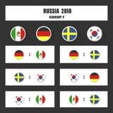 Matcha schema, tabellen för 2018 den sista attraktionresultat, flaggor av länder som in deltar till den internationella turnering Arkivbild