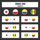 Matcha schema, tabellen för 2018 den sista attraktionresultat, flaggor av länder som in deltar till den internationella turnering Royaltyfri Foto
