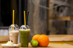 Matcha smoothie with Ice coffee Royalty Free Stock Photo