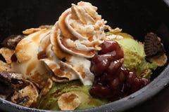 Matcha Stone parfait  dessert with chocolate and cream Stock Images