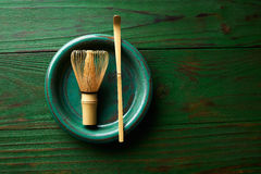 Matcha tea bamboo whisk chasen and spoon Royalty Free Stock Photography