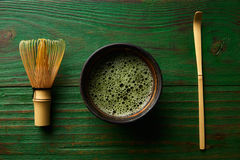 Matcha tea bamboo whisk chasen and spoon Stock Image