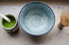 Matcha. Tea with bowl and a whisk stock photography
