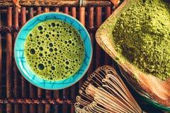 Matcha tea cuo above. Matcha green tea top view closeup.Toned Royalty Free Stock Images