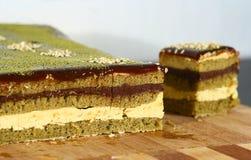 Matcha tea Opera cake Stock Photos