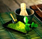 Matcha tea powder. Organic green matcha tea Stock Photography