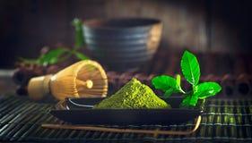 Matcha tea powder. Organic green matcha tea Royalty Free Stock Images