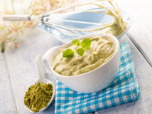Matcha tea and ricotta Stock Photos
