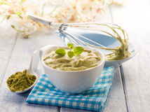 Matcha tea and ricotta Royalty Free Stock Photography