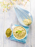 Matcha tea and ricotta Stock Image