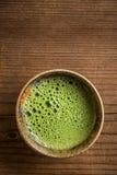 Matcha tea. Serving in matcha bowl royalty free stock images