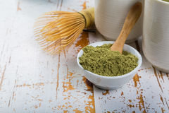Matcha tea in white bowls Royalty Free Stock Photography