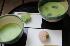 Matcha  and Wagashi Japan Stock Image