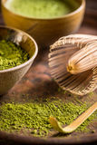 Matcha with whisk and spoon Royalty Free Stock Photo