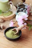 Matcha zielona herbata i zielona herbata proszek Zdjęcia Stock