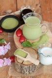 Matcha zielona herbata i zielona herbata proszek Zdjęcia Royalty Free