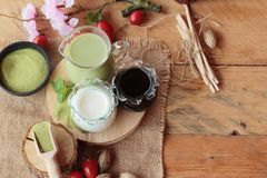 Matcha zielona herbata i zielona herbata proszek Obrazy Royalty Free
