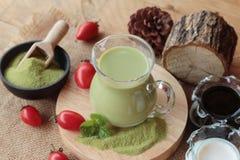 Matcha zielona herbata i zielona herbata proszek Zdjęcie Royalty Free