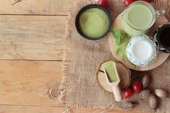Matcha zielona herbata i zielona herbata proszek Obrazy Stock