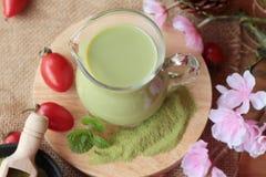 Matcha zielona herbata i zielona herbata proszek Fotografia Royalty Free