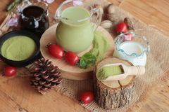 Matcha zielona herbata i zielona herbata proszek Zdjęcie Stock