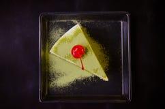 Matcha zielonej herbaty tort, herbata i tort, Zdjęcie Stock