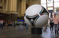Matchball officiel d'EURO POLOGNE 2012 - UKRAINE Photos libres de droits