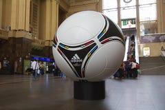 Matchball oficial do EURO POLAND 2012 - UCRÂNIA Imagem de Stock