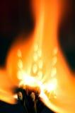 Matchbook Fire. Matchbook Flower Fire experiment, single matchbook seperated, home studio Stock Photo