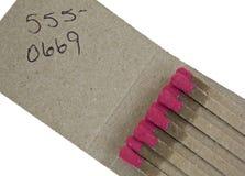 Matchbook mit generischer Telefonnummer Stockfoto