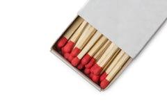 Matchbox с красными спичками Стоковое Изображение