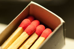Matchbox. Closeup of match heads in Matchbox Stock Image