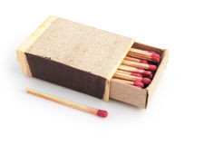 Matchbox. And a match on white royalty free stock images