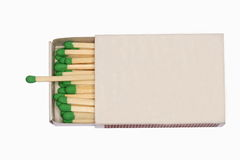 Matchbox. An isolated matchbox with matches in it Stock Photo